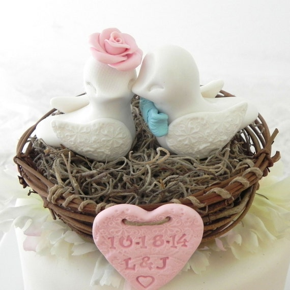 Rustic Love Bird Wedding Cake Topper, White, Pink and Blue,  Love Birds in Nest , Personalized Heart