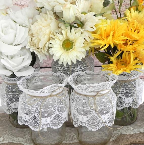 Phenomenal Items Similar To 4 Rustic Lace Mason Jars Centerpiece Www Interior Design Ideas Oxytryabchikinfo