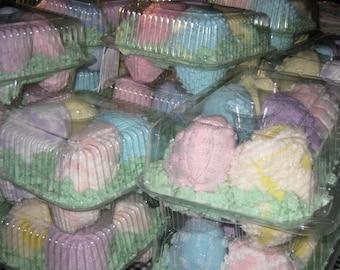 EASTER EGGS, Vintage Pastel Chenilles, Set of 4, bedspread, Easter bunny, Easter basket, toy, centerpiece