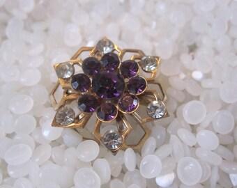 Vintage rhinestone brooch, snowflake,  gold tone clear and amethyst rhinestones