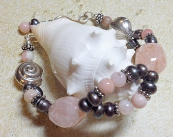 Pink Gemstone & Gray Freshwater Pearl and Sterling Silver Bracelet