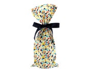 ON SALE -- Colorful Wine Bottle Bag in Bright Fabric with Recycled Ribbon
