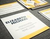 Striped Modern Wedding Invitation, Yellow and Grey Invitations, Bar Mitzvah, Bold Striped Modern - Flat Panel, No Layers, v2 - DEPOSIT