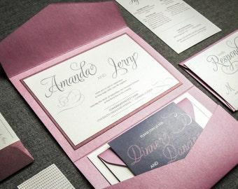 "Purple Pocketfold Wedding Invitations, Modern Fuchsia Wedding Invitation Suite, Custom Invitation Set - ""Modern Swirl & Flourish"" PF-1L-v1"