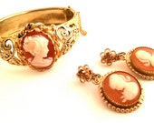 SET of 2 Art Nouveau CUFF Bracelet and Dangling Clip on Earrings Golden Amber Orange Coral Cameo Statement Authentic Vintage Antique Jewelry