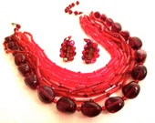 SET of West GERMANY Bib MultiStrands Necklace and Clip on Earrings Ruby Red Plastic Lucite Crystal Beads Authentic Vintage Designer Jewelry