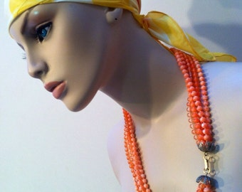 ORANGE Hues Beads Multi strands torsade style Plastic Beaded Hand-knotted Necklace Authentic Genuine Vintage Jewelry artedellamoda