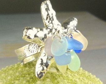 Statement Eco Friendly GENUINE Sea Glass Ring Pastel Sea Glass Sterling Silver Starfish Jewelry