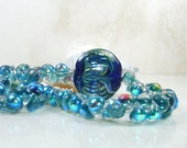 Denim Blues Lampwork Glass Necklace with Large Focal Bead