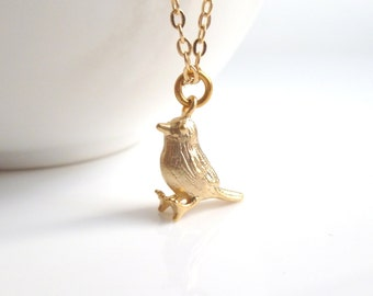 Little Gold Bird Necklace - tiny miniature baby sparrow / chickadee chick charm pendant on a simple gold plated chain - delicate minimalist