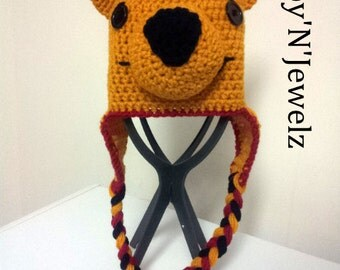 Inspired Winne the Pooh earflap hat  - Made to ORDER