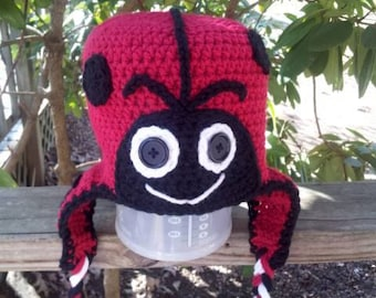 Super Cute Crochet Ladybug earflap hat  - Made to ORDER