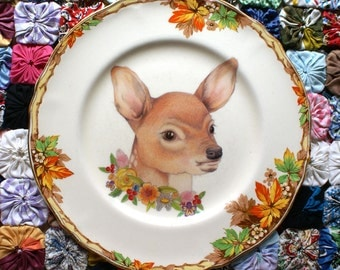 Deery Me with Autumn Floral Vintage Illustrated Large Plate