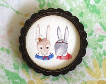 Sailor Bunnies Wooden Illustrated Frame Brooch - Black