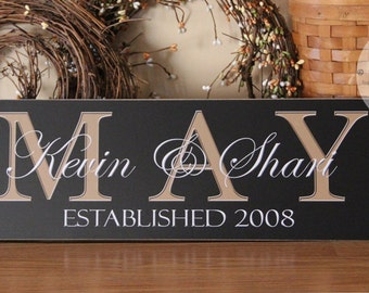 Custom Family Name Sign, Personalized Last Name Sign, Wedding Gift