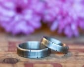 14k White Gold Wedding Band Set - White Gold Wedding Ring Set - Rustic Wedding Bands - His and Hers Hers and Hers His and His - Personalized