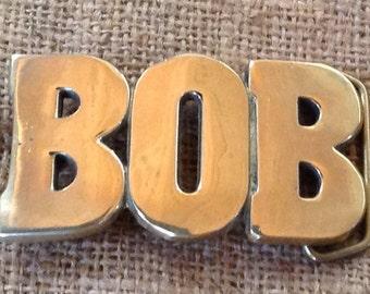 Solid Brass Name Belt Buckle Bob