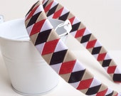 School Girl Headband ribbon woven black white tan red