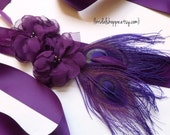 Purple Wedding Sash, Purple Bridal Sash, Eggplant Bridal Sash, Purple Bridal Belt, Purple Wedding Accessories, Eggplant Wedding, Mallory