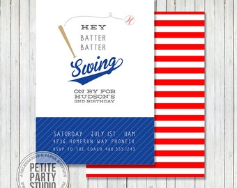Baseball Sports Printable Party Invitation - Birthday or Baby Shower - Petite Party Studio