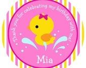 Little Duck Birthday sticker  Duck sticker Duck Birthday Favor Tag