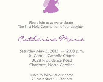 First Holy Communion Invitation  --  religious invitation Holy Communion First Communion Purple Communion Invitation
