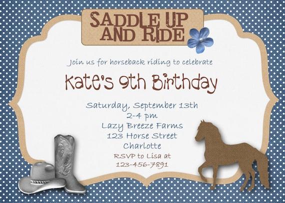 Horseback riding horse cowgirl birthday invitation cowboy like this item yadclub Image collections