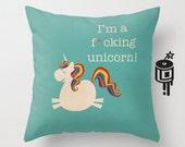 MATURE - Unicorn Pillow - Unicorn Gift - Happy Pillow - Cushion - 16x16 18x18 20x20 Pillow Cover