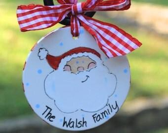Personalized Ceramic Santa face Christmas ornament