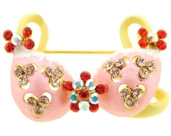 Flower Light Peach Bikini Crystal Pin Brooch And Pendant 1011741