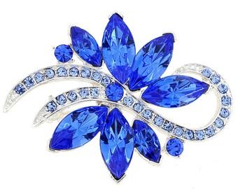 Sapphire Blue Poinsettia Crystal Flower Pin Brooch 1001223