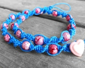 Pink and Blue Hemp Necklace - 15 inch - Sunset