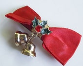 Vintage Christmas bells hair clip or barrette with red ribbon bow, enamel holly leaves and rhinestone berry