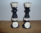 Candlesticks   French Chic  Paris Apt.  Set of 2  Handpainted  Distressed  Embellished by MaBelle Chic Boutique