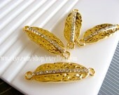 5pcs-Gold plated,clear crystal Rhinestone leaf bracelet Connector,-10mm *32mm