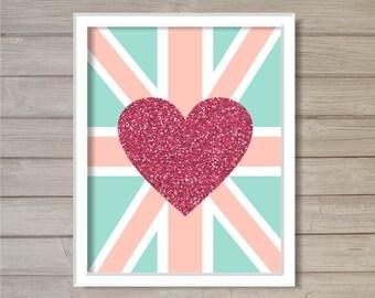 Love Union Jack Glitter Pink Heart -8x10- Instant Download Printable Nursery Wall Art London England UK English British Flag Room Home Decor