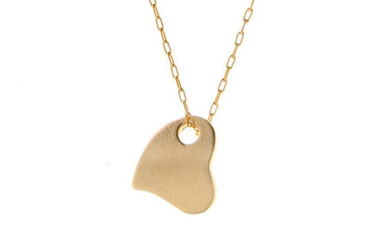 Gold necklace tiny gold heart necklace layering pendant love necklace dainty delicate gold plated jewelry