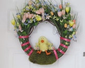 Whimsical Easter Chick Wreath
