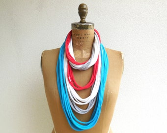 Women's TShirt Necklace Womens Scarf Necklace Recycled Tees Upcycled Fashion Red Turquoise White Gray Cotton Soft Gift for Her Spring ohzie