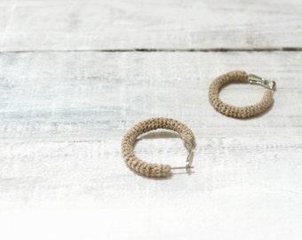 Small Linen Hoop Earrings, Crochet Tube Rustic Hoops