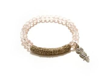 Modern Stretchy Beaded Bracelet, Translucent Pink, Linen Crochet Tube, Owl Charm Bohemian Jewelry