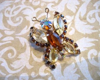 Vintage Rhinestone Butterfly Pin Brooch