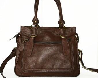 Dark Brown Genuine Leather Bag Cross-body purse Handbag Rina Size L