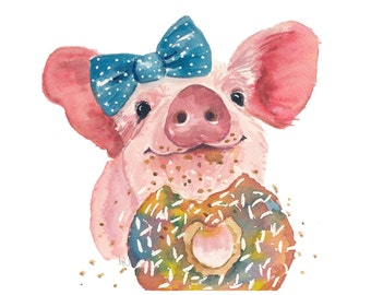Pig Watercolor 8x10 Print - Sprinkle Donut, Food Art, Donut Watercolour