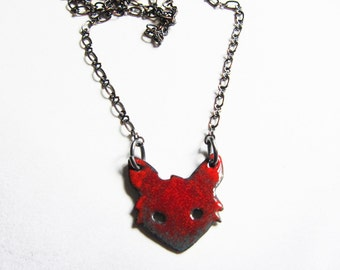 Tiny red fox necklace Long layer enamel necklace Enamel jewelry Red fox pendant