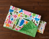 Waterproof Diaper Changing Mat- jungle animal print with green minky