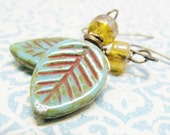 Yellow, Brown, Red, Turqouise and Green Leaf Earrings, Green and Yellow Wire Wrapped Earrings, Beaded Autumn Leaf  Earrings