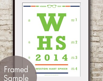 Personalized Name and Date (Eye Chart) Art Print (Featured in Grass Green with Crismon Orange and Navy Accents) Buy 3 Get One Free