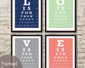 Set of 4 Prints-L-O-V-E  Eye Chart Set of 4 ART Prints (Love Nat King Cole Song) (30 Colors to choose from)