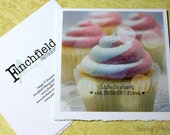 Cupcake card, pink and white, fine art card, inspirational quote, food photography, fpoe